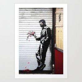 Banksy, Man with flowers Art Print