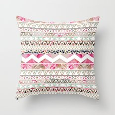 Aztec Spring Time! | Girly Pink White Floral Abstract Aztec Pattern Throw Pillow
