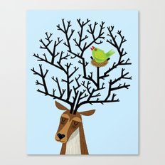 The Tree Stag and The Green Finch Canvas Print