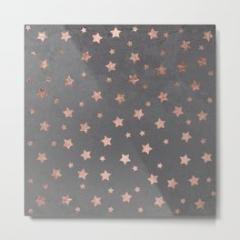 Rose gold Christmas stars geometric pattern grey graphite industrial cement concrete Metal Print