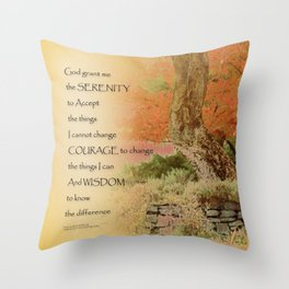 Serenity Prayer Autumn Harmony Throw Pillow
