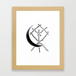 Crescent Moon Rune Binding at Midnight Framed Art Print