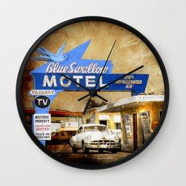 Blue Swallow Motel Wall Clock