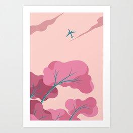 Aeroplane in the Evening Sky Art Print