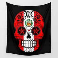 peru Wall Tapestries featuring Sugar Skull with Roses and Flag of Peru by Jeff Bartels
