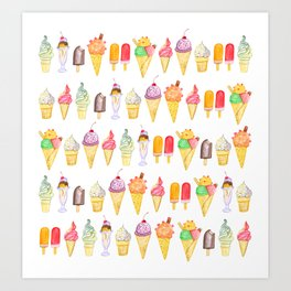 Watercolour Ice Cream Art Print