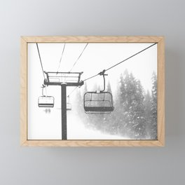 Chairlift Abyss // Black and White Chair Lift Ride to the Top Colorado Mountain Artwork Framed Mini Art Print