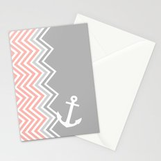 Coral Nautical Chevron  Stationery Cards
