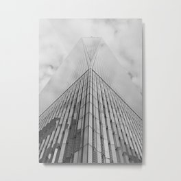 Freedom Tower Looking Up | New York City | Black and White Photography  Metal Print
