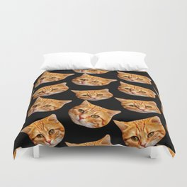 cute black and orange cat pattern Duvet Cover