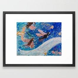 Flying Cats Framed Art Print