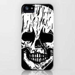 Woodcut Skull iPhone Case