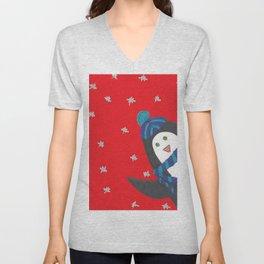 Cheerful Holiday Penguin Unisex V-Neck