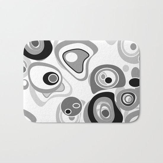 Abstract black white gray polka dot pattern 2 Bath Mat