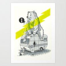 Camping Bear Art Print