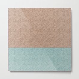 Combo beige turquoise abstract pattern . Metal Print