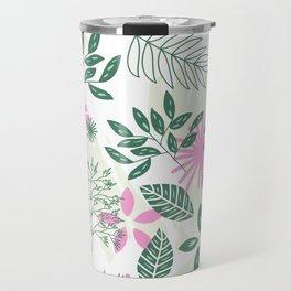 pink teal flower pattern Travel Mug