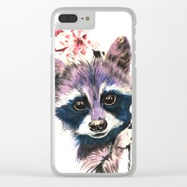 Blooming Raccoon Clear iPhone Case