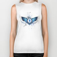 chelsea Biker Tanks featuring Chelsea FC by Future Illustrations- Artwork by Julie C