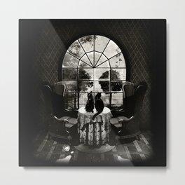 Room Skull B&W Metal Print