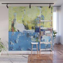 Parakeet Blue Yellow Abstract Art Wall Mural