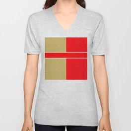 Team Colors 6...red,gold Unisex V-Neck