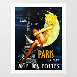 Vintage Paris La Nuit Ville Des Folies Eiffel Tower and Moon Advertising Poster Art Print