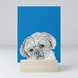 Shih Tzu Dog Portrait ( blue background ) Mini Art Print