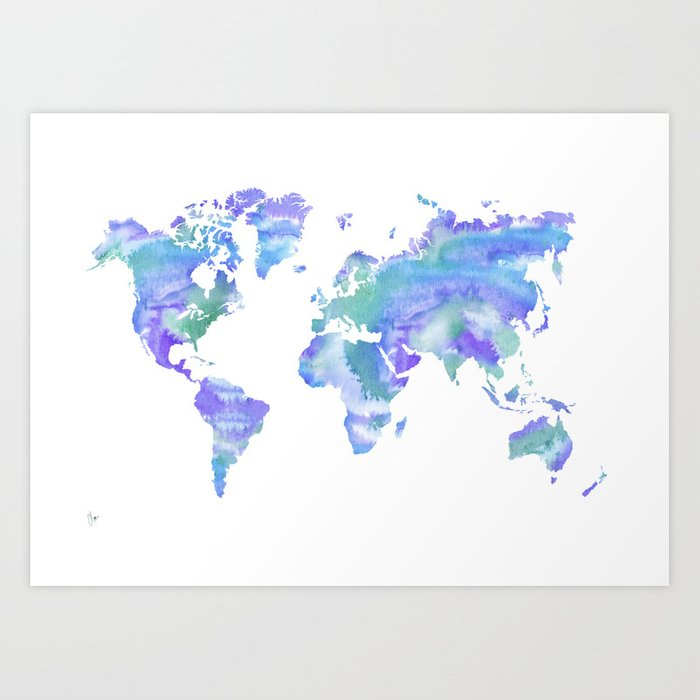 Watercolour World Map Blue Green Purple Art Print By