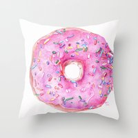 donut Throw Pillows featuring DONUT!!!! by annelise johnson
