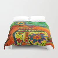 puerto rico Duvet Covers featuring Rico by Three Dog
