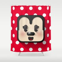 minnie mouse Shower Curtains featuring minnie mouse cutie by designoMatt