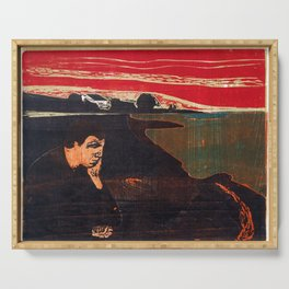 Edvard Munch - Evening. Melancholy - Digital Remastered Edition Serving Tray