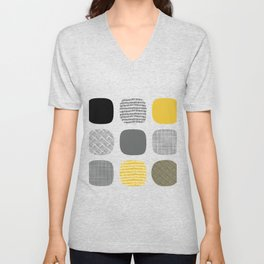 Abstract in mustard and grey Unisex V-Neck
