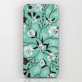 Mint Floral Shadow iPhone Skin