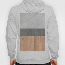 Carrara Marble, Concrete, and Teak Wood Abstract Hoody