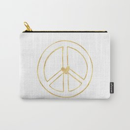 Gold Heart Peace Sign Carry-All Pouch