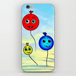 Happy colorful balloons flying in the sky iPhone Skin