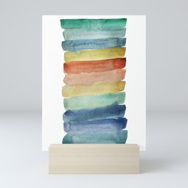 Ocean Sunset Stripes - modern watercolor stripes in blue, green, yellow, and orange Mini Art Print