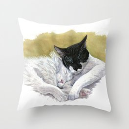 Snuggling cats Throw Pillow