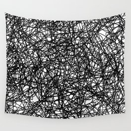 Angry Scribbles - Black and white, abstract, black ink scribbles pattern Wall Tapestry