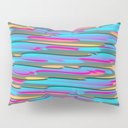Horizontal vivid curved stripes with imitation of the bark of a light blue tree trunk. Pillow Sham