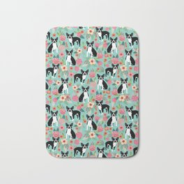 Boston Terrier floral dog breed pet art must have boston terriers gifts Bath Mat