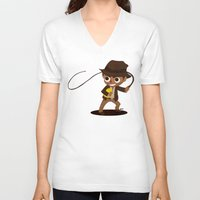 indiana V-neck T-shirts featuring Indiana Jones by Delucienne Maekerr