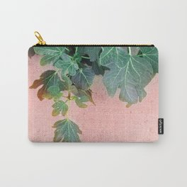 Pink Green Leaves Carry-All Pouch