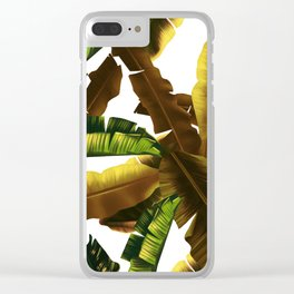 tropical banana leaves pattern gold Clear iPhone Case