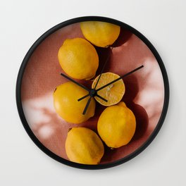 Summer vibe | Yellow lemon and pink background | shadow and sunlight art print | pastel photography Wall Clock