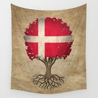 denmark Wall Tapestries featuring Vintage Tree of Life with Flag of Denmark by Jeff Bartels