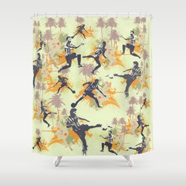 Vintage flower football Shower Curtain
