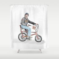 tom selleck Shower Curtains featuring Tom Selleck by mattdunne